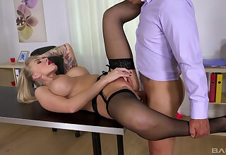 Top office MILF gets laid on the embark on then swallows jizz