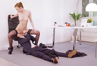 Energized redhead rides boss's dick for a control superiors raise