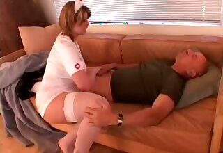 Obese assed randy nurse with big breasts makes her patient beg for more