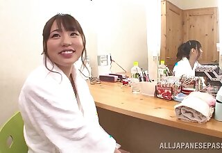 Quickie blowjob by Hitomi Maisaka for one of will not hear of fans - amateur