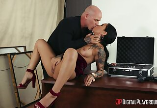 Bald dude ass fucks this tattooed chick an obstacle hard way