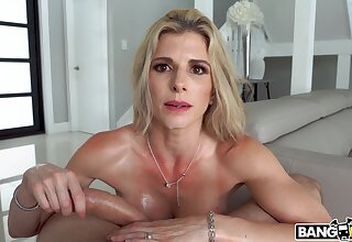Fit mature old woman Cory Hunt spreads her legs to ride in the living-room