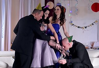 Festive foursome with hot babes Dolly Diore with the addition of Tina Kay