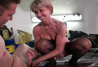 Dirty mature Stanislava spreads her legs to be fucked by a younger man