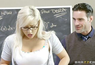Teen slut Kylie Page gives on the same plane up to a well-hung professor
