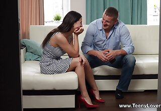 Erotic fucking in the living-room with stunning GF Alice Kelly
