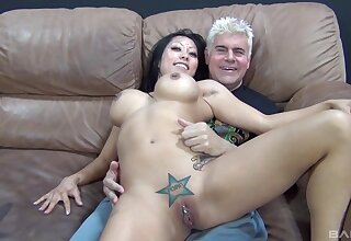 Older man less fucks Asian with unselfish tits in vulgar cam play