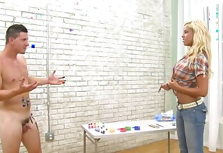 Bridgette B and man encircle naked bodies with paint after a date