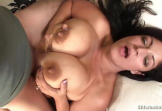 Hot Latina mom throats son's cock until douche pops sperm