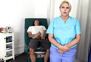 Sensuous, blondie nurse is using every chance to get screwed, even if she is encouragement under way