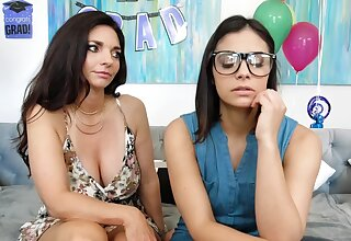 Stepmom and stepdaughter are having lesbian sex on the couch