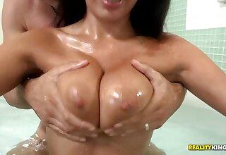 Juicy brunette Anissa Kate shakes boobs to turn exceeding Mick Blue