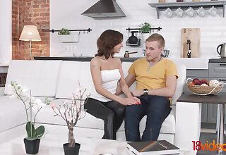 Young amateur couple is having sex fun ion the first date