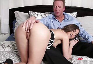 Sweet gal rubs her clit as A she keeps riding cock on top be incumbent on joy