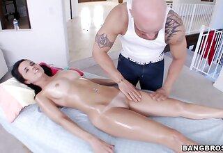Ass massage leads to balls deep fucking with flexible Dillion Harper