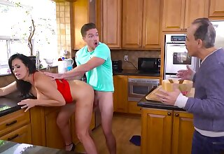 Fabulous MILF with big boobs cheats on husband in the kitchenette