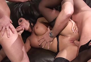 Sexy hooker Amanda Black in stockings gets fucked by two horn-mad clients