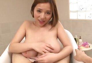 Take charge Japanese woman Saijou Ruri gives a blowjob and a titjob