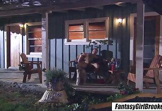 Brooke Banner - Morose blonde fucks girlfriend cut corners on porch