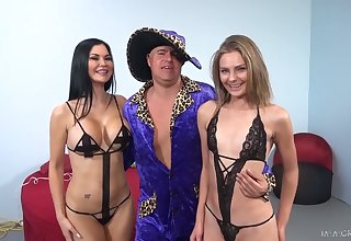 One dude fucks throats and wet cunts of Shyla Ryder and her girlfriend