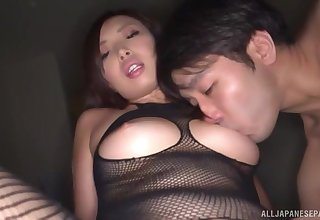 Japanese babe in a fishnet outfit Miyakawa Arisa creampied hardcore