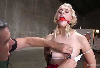 Gagged pale blond Chloe Cherry is discontinuous for horny bondage session