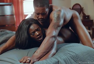 Ebony tie the knot screams with the lover's detect deep in her