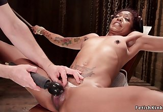 Hogtied insidious squirter fornicateed with dildo