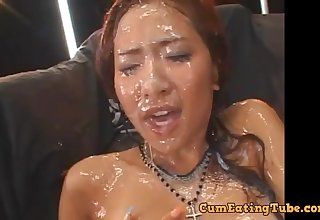 Petite japanese babe in arms filthy bukkake session