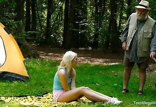 Blondie Lovita Fate is fucked unconnected with kinky geezer in someone's skin forest