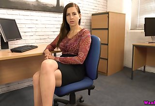 Sex-starved secretary Tindra Frost is toying soiled pussy on the table