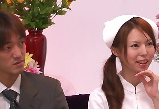 Blindfolded Japanese nurse pleasured with a lot of sex toys