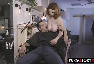 Stunning busty babe Annabel Redd was getting near to close up be passed on barbershop