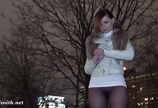 Russian Jeny Smith walks in public in transparent pantyhose on skid row bereft of panties