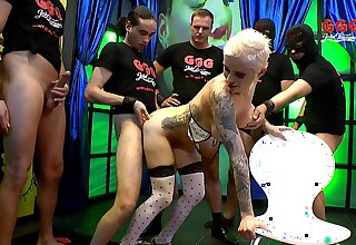 Rude maddened blonde Mila from Germany fucked by a huge number be fitting of dudes